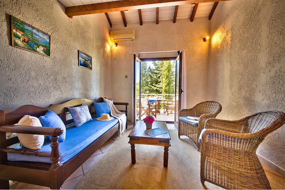 Living Room Area Of Glyfada Beach Family Villas