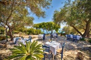 Restaurant for dinner inside the olive grove Glyfada Beach villas